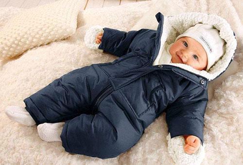 Малыш, одетый для зимней прогулки