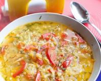 Вегетарианский суп с овощами и рисом