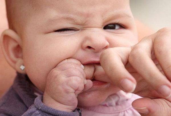Грудничок грызет палец взрослого