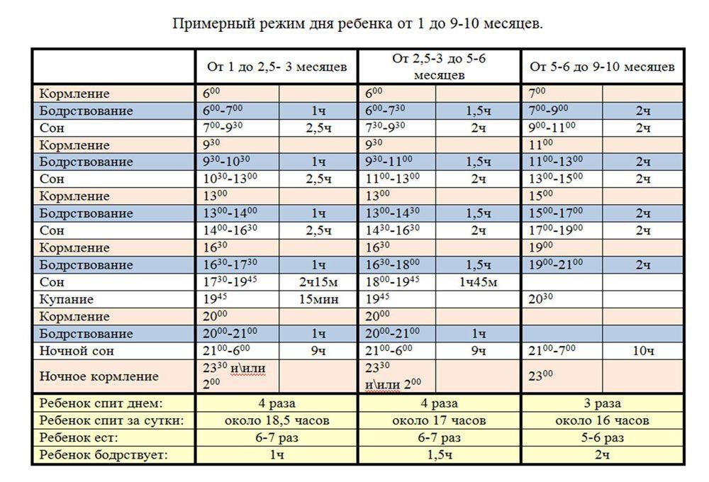 Таблица режима и распорядка дня