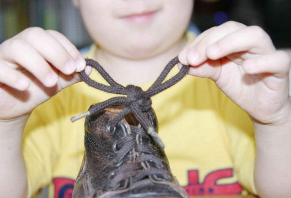 мальчик держит ботинок с завязанным шнурком