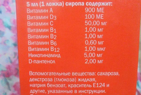 """Состав витаминов """"Пиковит"""""""