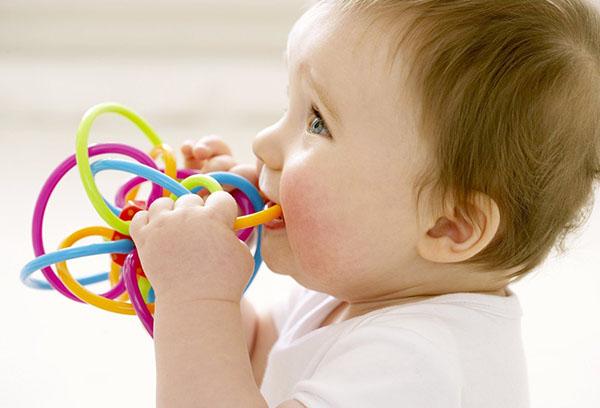 Ребенок грызет игрушку